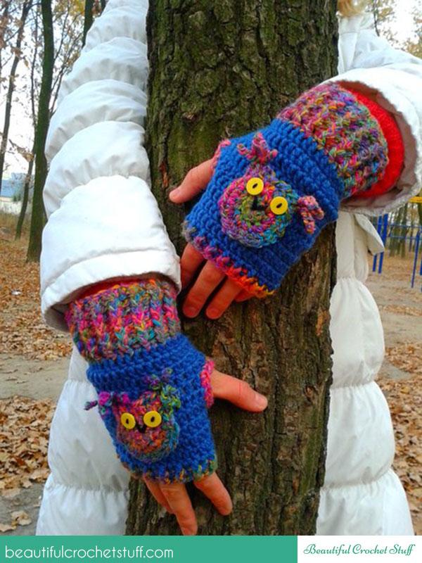 fingerless owl gloves