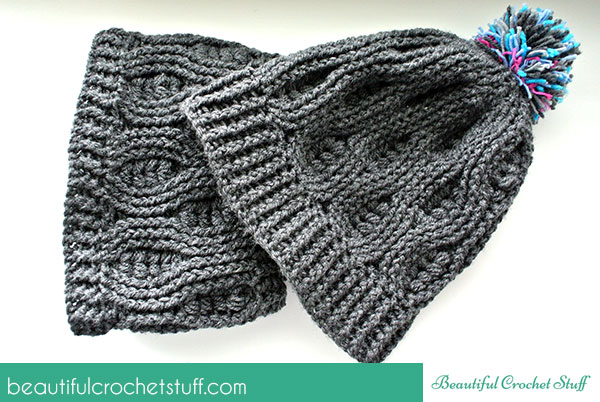 crochet infinity scarf and crochet beanie free pattern