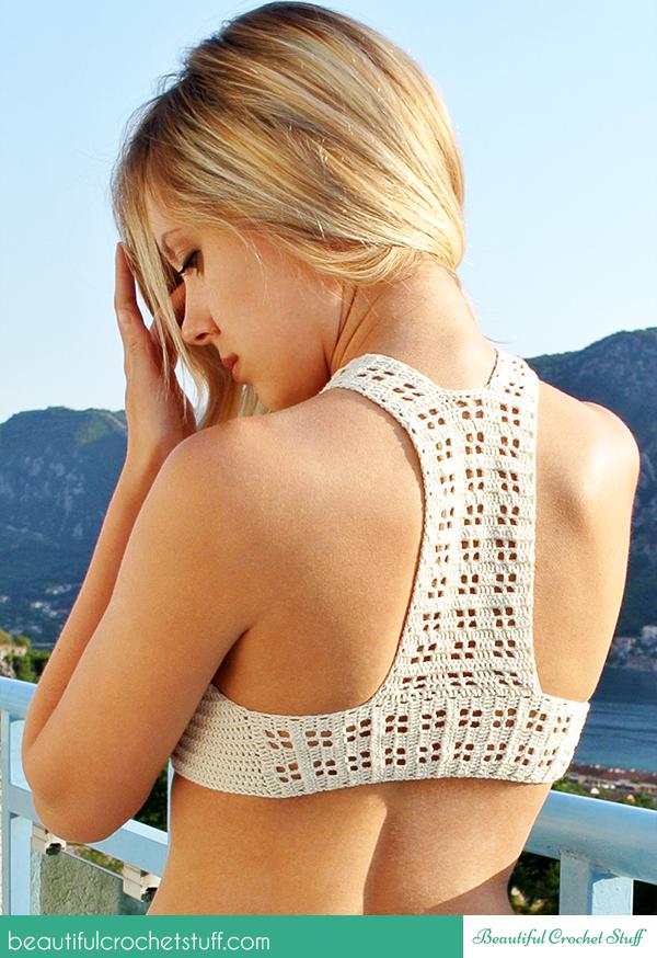 Crochet Halter White Top