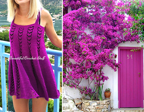 Crochet Purple Dress Free Pattern | Beautiful Crochet Stuff