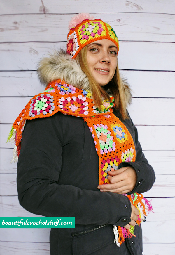 Granny Square Beanie and Scarf Free Pattern